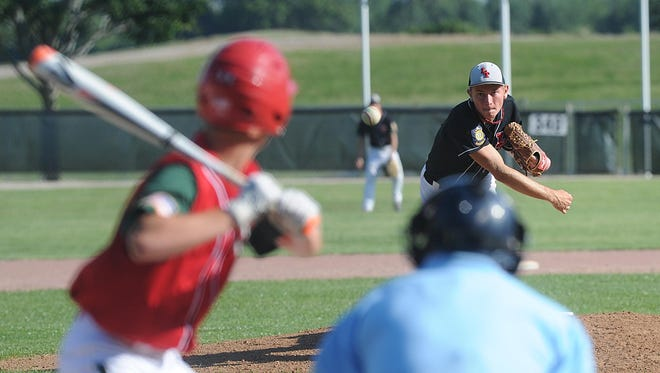 Justin Lammers of Lomira/Theresa pitches against Berlin Friday evening in Brownsville. Berlin would go on to win, 5-4.