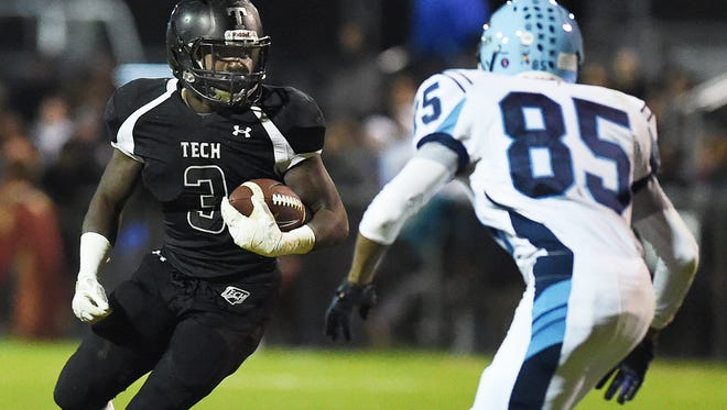 Sussex Tech's Patrick Griffin (3) has rushed for 1,622 yards this season, and the Ravens likely will need a big game from him to win at Middletown.