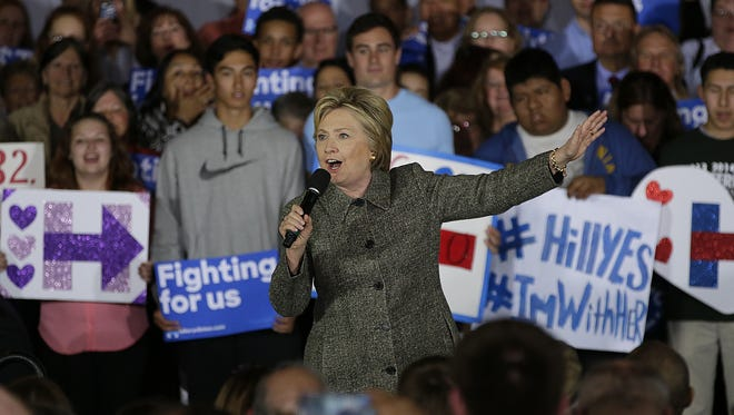 Democratic presidential candidate Hillary Clinton speaks to 800 supporters Tuesday during a campaign stop at the Riverside Ballroom in Green Bay.