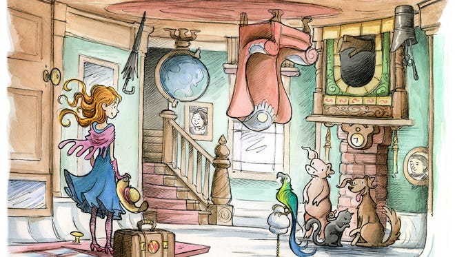 """A scene from the new children's book """"Missy Piggle-Wiggle"""" illustrated by Ben Hatke."""
