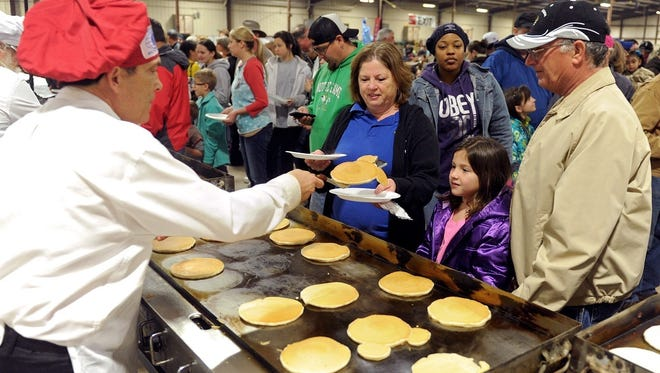Thousands will eat their fill of flapjacks Jan. 28 at the University Kiwanis Club Pancake Festival at the J.S. Bridwell Agricultural Center.