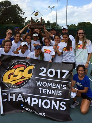 The UWF women's tennis team celebrate their comeback win over Valdosta State at the Gulf South Conference Tournament on April 22, 2017.