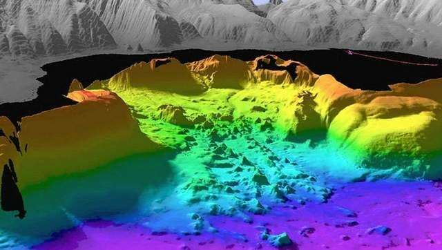 "A graphic illustration of the bottom of Lake Tahoe from the U.S. Geologic Service Tahoe basin web site looking west toward McKinney Bay just south of Tahoe City, Nev. Between Aug. 6, 1998 and Aug. 13, 1998, the USGS' coastal and marine geology group mapped the floor of Lake Tahoe using acoustic sonar aboard the research vessel ""Inland Surveyor."" The mapping revealed lake floor sediment patterns, sunken artifacts and photograph-like maps of the bottom of Lake Tahoe. In this illustration the gray areas are land, the black parts unmapped areas and the colors are the lake bed color keyed to show depth and features."