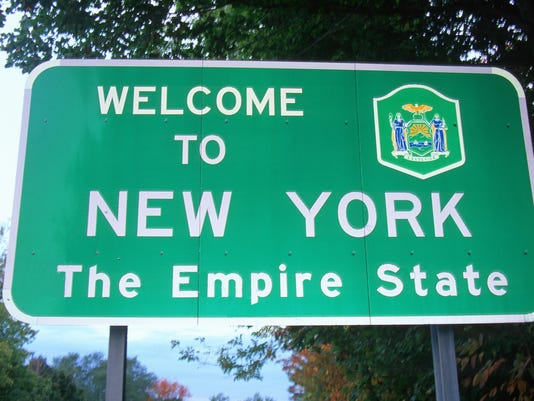 New York welcome sign
