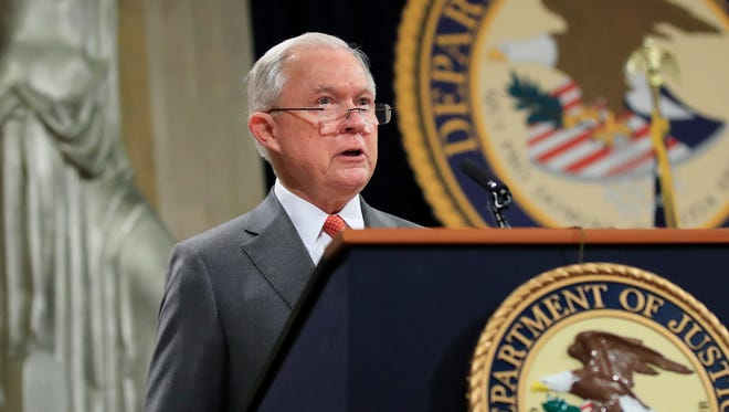 Attorney General Jeff Sessions speaks during a Religious Liberty Summit at the Department of Justice July 30, 2018.