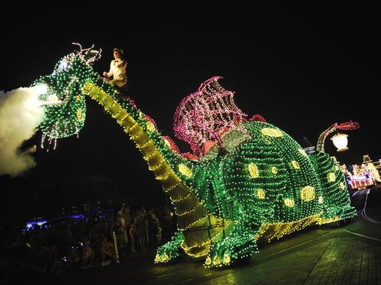 "About 500,000 light bulbs are used to bring movie characters, such as ""Pete's Dragon,""  to life in the Main Street Electrical Parade, which is returning to Disneyland after a 20-year absence."