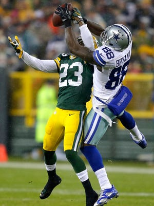 Green Bay Packers cornerback Damarious Randall breaks up a pass intended for Dallas Cowboys receiver Dez Bryant.