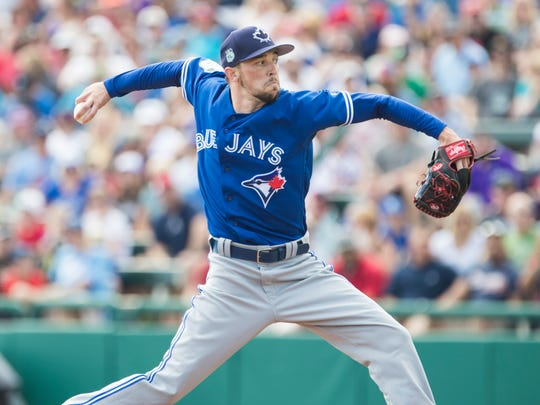 Casey Lawrence made his MLB debut with the Toronto Blue Jays on April 8. He's pictured here during a spring training game against the Atlanta Braves on Feb 25.