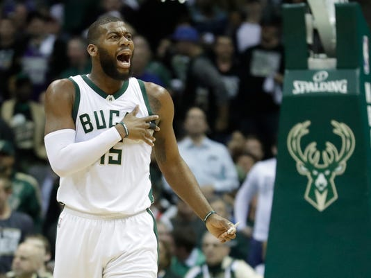 Milwaukee Bucks' Greg Monroe reacts to a call during the first half of game 6 of an NBA first-round playoff series basketball game Toronto Raptors Thursday, April 27, 2017, in Milwaukee. (AP Photo/Morry Gash)
