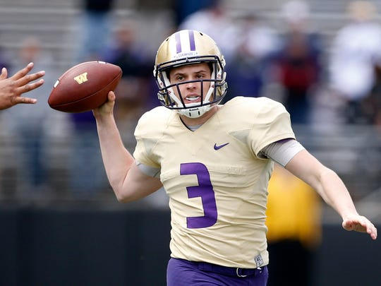 Washington QB Jake Browning (file) during spring practice