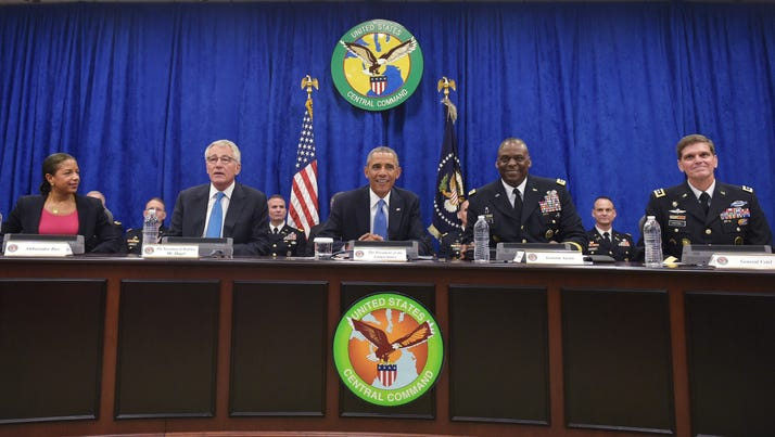 President Obama takes part in a briefing at US Central Command (CENTCOM) at MacDill Air Force Base in Tampa, Florida.