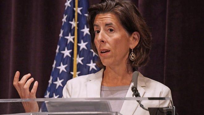 Gov. Gina Raimondo during a recent coronavirus update at Veterans Memorial Auditorium in Providence.