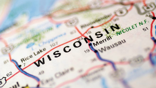 Map of Wisconsin, extreme close-up