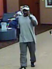 Bank robbery suspect on Monday inside First Light Federal Credit Union in East El Paso.