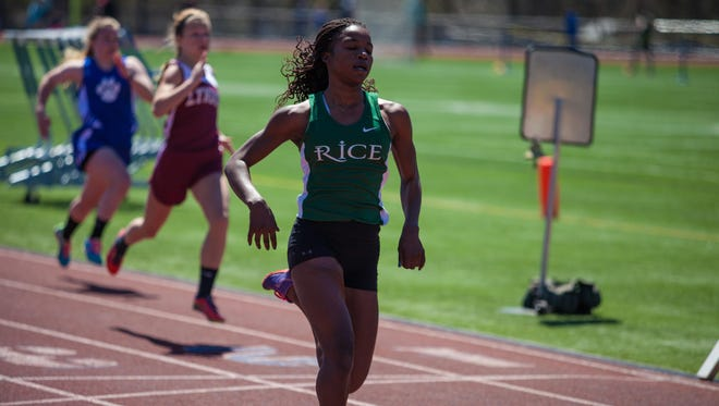 Rice's Sonia John, seen competing in the 100-meter dash prelims, won the 100, 200 and 400 at Saturday's Burlington Invitational.