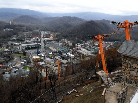 The Gatlinburg Sky Lift upper portion was heavily damaged