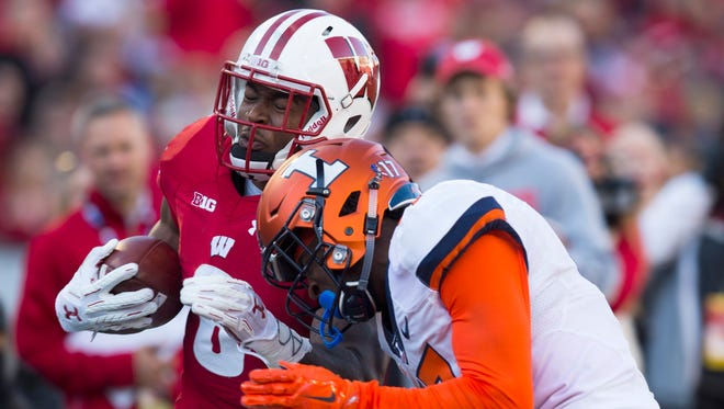 Badgers running back Corey Clement had three rushing touchdowns Saturday in Wisconsin's 48-3 victory over Illinois at Camp Randall Stadium.