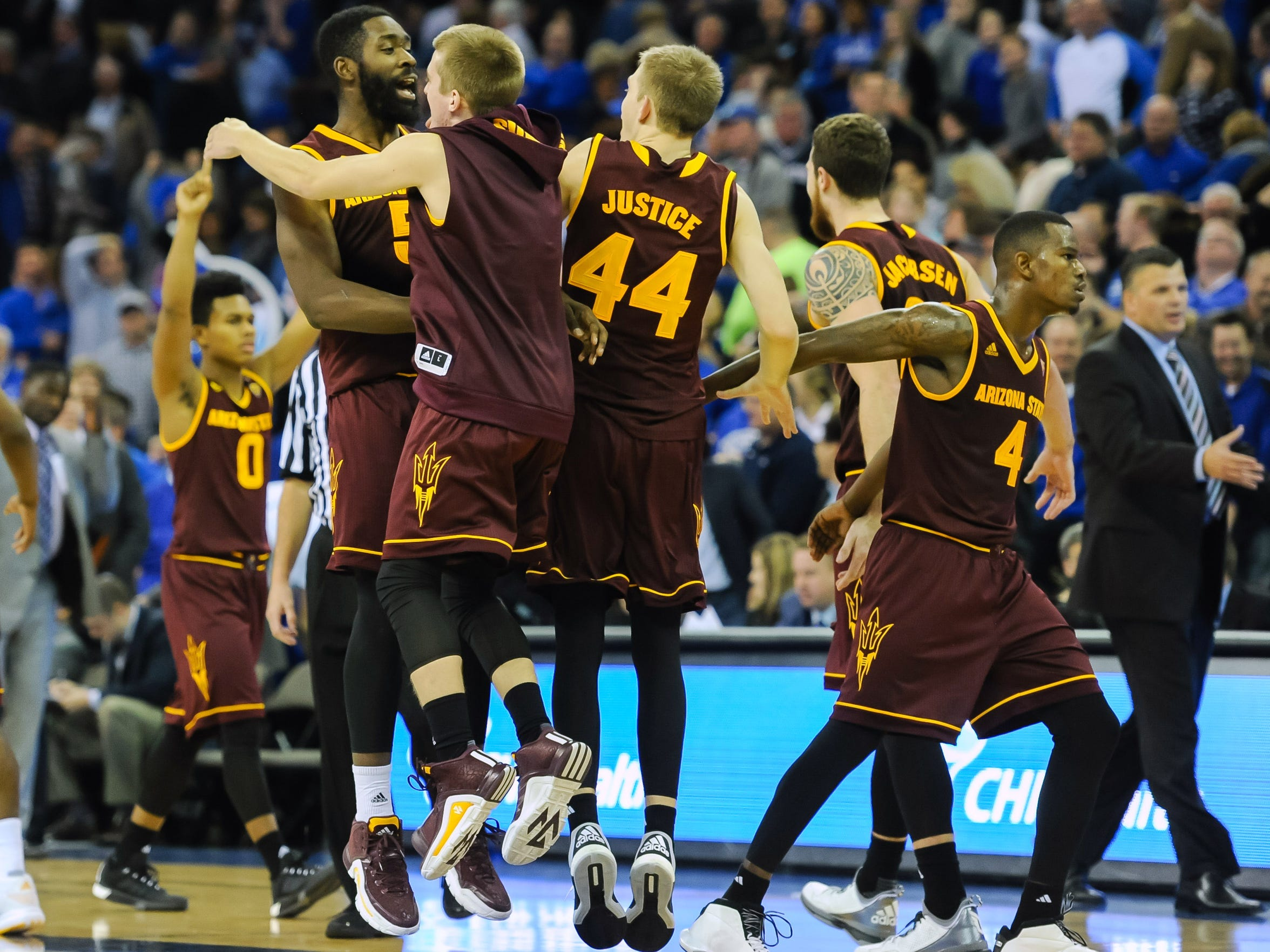 The Sun Devils celebrated after beating Creighton on