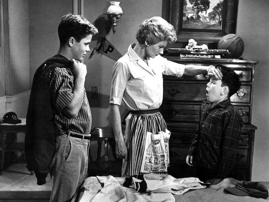 """In a scene of """"Leave It to Beaver"""" from May 22, 1958, Beaver pretends to be sick."""