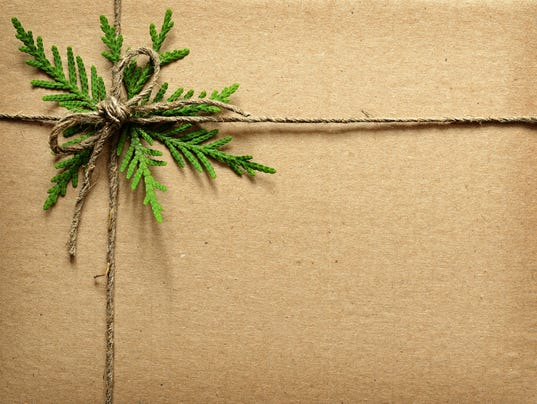 Cardboard tied with green twigs and rope.