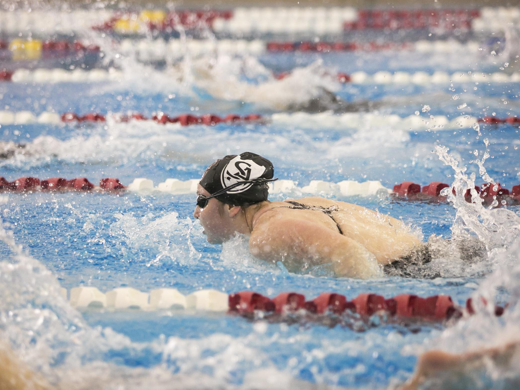 Salem Academy's Kiera Supple swims the girls 200 individual medley at the OSAA Swimming State Championships at Mount Hood Community College on Saturday, Feb. 20, 2016.