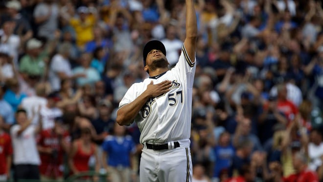 Milwaukee Brewers relief pitcher Francisco Rodriguez reacts to a save June 22, 2013, in Milwaukee.
