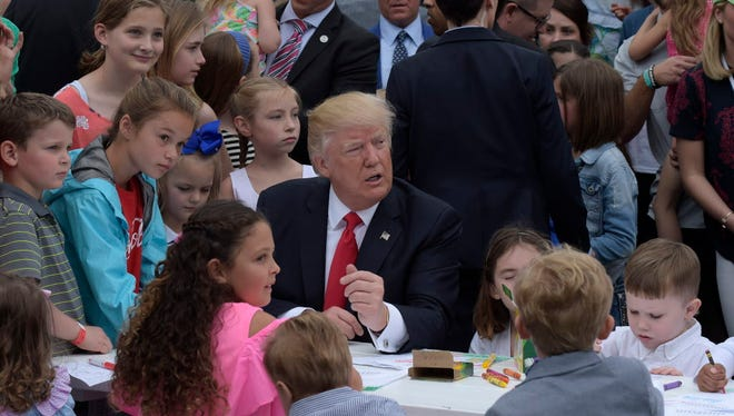 President Trump at the White House Easter fest on April 17, 2017.