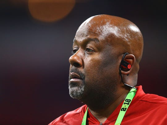 Jan 8, 2018; Atlanta, GA, USA; Alabama Crimson Tide wide receivers coach Mike Locksley against the Georgia Bulldogs during the CFP National Championship at Mercedes-Benz Stadium. Mandatory Credit: Mark J. Rebilas-USA TODAY Sports
