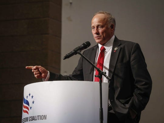 Congressman Steve King speaks during the Faith and