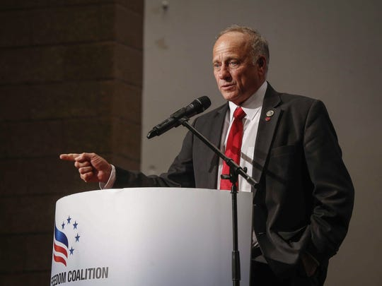 Congressman Steve King speaks during the Faith and Freedom Coalition Saturday, May 12, 2018, at Walnut Creek Church in Windsor Heights.