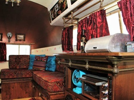 The interior of a vintage trailer Elena and Harold
