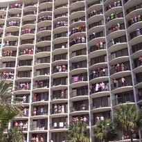 """Holiday Inn Resort at Panama City Beach has become wildly popular among the college-aged crowd, after word spread of its daily wake-up call for spring breakers: blasting """"Circle of Life,"""" Elton John's hit song from The Lion King musical, up at their balconies."""