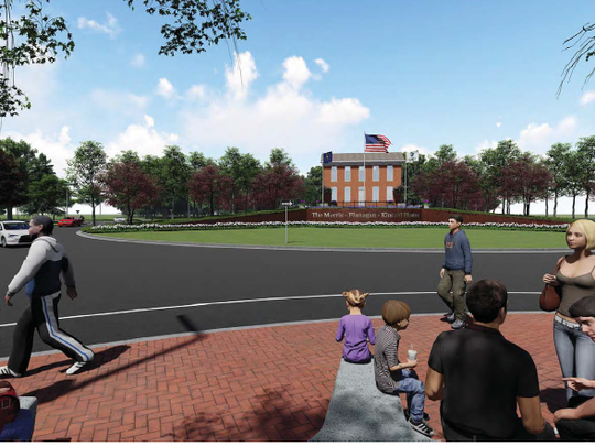 This artist's rendering depicts the viewing area for the historic Kincaid House when it is moved to a roundabout in FIshers