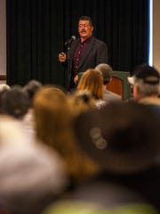 Todd McFarlane, an attorney for the family of Bunkerville rancher Cliven Bundy, speaks last weekend during a gathering of ranchers in Cedar City, Utah.