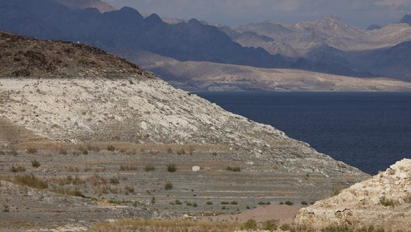 A 2010 file photo shows low water levels in Lake Mead. Drought in the Southwest is depleting the vast Lake Mead on the Colorado River to levels not seen since the 1930s.
