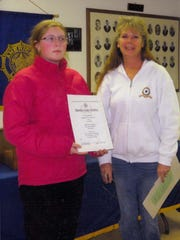 American Legion Auxiliary 449 Poppy chairman, Vicky Jeffries (right), presented a certificate of recognition on Nov. 13 to Marianna Ostentoski, a student at Marysville High School. Marianna's entry in the Poppy Poster Contest won first place at the District level and the state level and has advanced to the national level.