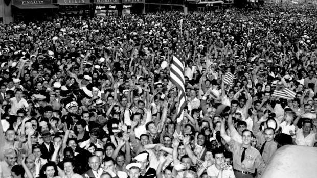 Thousands of people celebrate VJ Day as they fill New York's Times Square on Aug. 14, 1945 after Japanese radio reported acceptance of the Potsdam declaration, ending World War II.