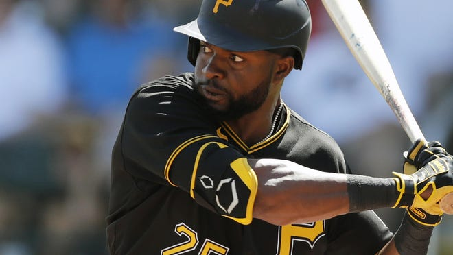 Pittsburgh Pirates' Gregory Polanco plays during a spring training baseball game, Thursday, March 12, 2020, in Bradenton, Fla.