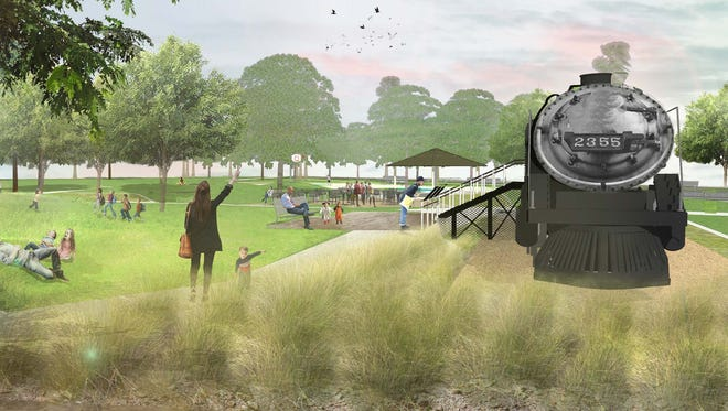 A rendering shows what the 1912 steam-powered train, which has sat at Pioneer Park in Mesa since 1958, could look like after it is restored.