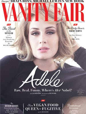 Adele on cover of December 2016 'Vanity Fair.'