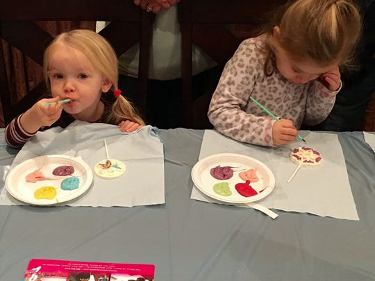 These little girls tasted and painted at 2 Chicks With Chocolate.