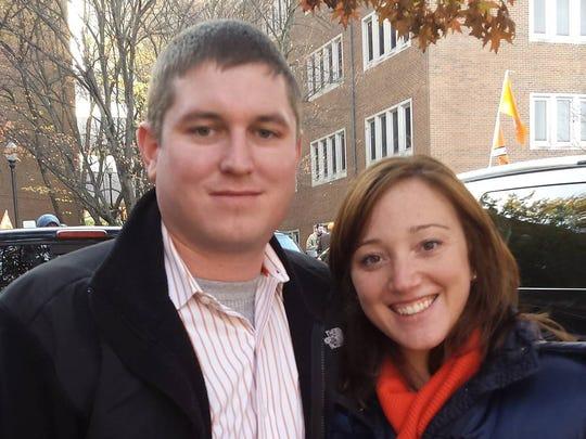 Matt and Sarah McFarland of East Nashville, the owners of Kaylee, a 6-year-old Corgi who ran away from Sarah McFarland's mother Jan. 25