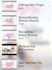A screenshot of the butt workout on the Blogilates