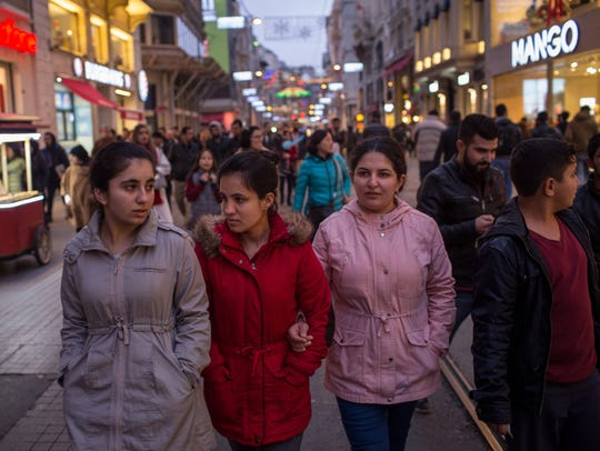 Syrian refugee sisters, (L-R) Reem, Ronak, Zahra and