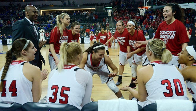 USD's Tia Hemiller is introduced before the Coyotes take on Fort Wayne in Saturday's Summit League women's basketball quarterfinal at the Denny Sanford Premier Center, March 7, 2015. USD beat Fort Wayne 78-70.