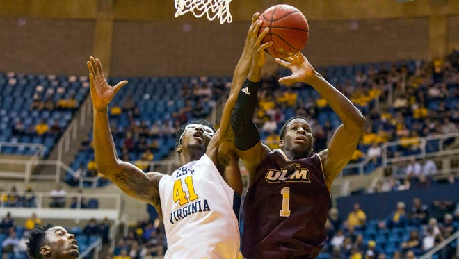 Sophomore forward Travis Munnings (1) entered Monday night third in the Sun Belt Conference in rebounding at 8.7 boards per game.