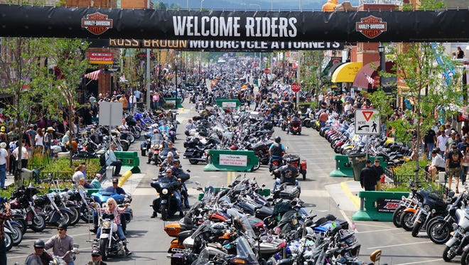 Hundreds of motorcycles sparkle in the summer sun on Main Street in Sturgis during the 2017 rally.
