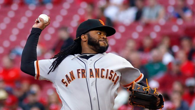 May 2, 2016: San Francisco Giants starting pitcher Johnny Cueto throws against the Cincinnati Reds during the second inning at Great American Ball Park.