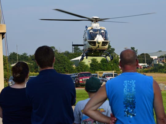 Life Net 81 air medical takes off over the Franklin