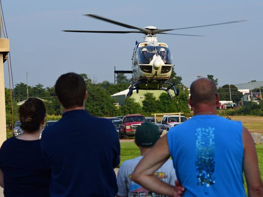Life Net 81 air medical takes off over the Franklin County Public Safety Trining Center after a visit. Teens in the annual Junior Firefighters Academy participated in drills at the Franklin County Public Safety Training Center, Chambersburg, on Wednesday, July 19, 2017.